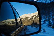Alp Photos - Winter landscape seen through a car mirror by Ulrich Schade