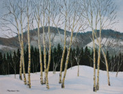 Winter Poplars Print by Richard De Wolfe