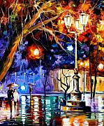 City Park Painting Originals - Winter Rain by Leonid Afremov
