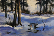 Winter Scenery Drawings Prints - Winter Shadows Print by Bob Hallmark