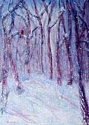 Snow Scene Mixed Media Prints - Winter Solitude Print by Sandy Hemmer