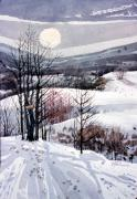 Snowscape Painting Metal Prints - Winter Solstice Metal Print by Donald Maier
