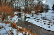 Winter Prints Posters - Winter Stream Poster by C Wayne Hennebert