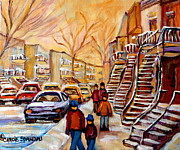 Winter Walk In Montreal Print by Carole Spandau