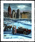 Couple In Snow Posters - Winter Wonderland Poster by Tracy Dennison