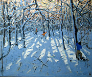 Memories Paintings - Winter woodland near Newhaven Derbyshire by Andrew Macara