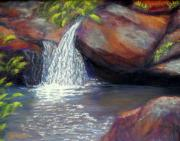 Waterscape Pastels Metal Prints - Wintergreen Falls Metal Print by Sandy Hemmer