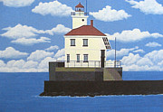 North American Lighthouses - Paintings By Frederic Kohli - Wisconsin Point Lighthouse by Frederic Kohli