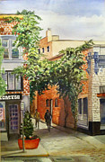 Alleyway Paintings - Wisteria over Alleyway by Patricia Young