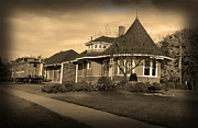 Impressionism Acrylic Prints Art - Witchs Hat Railroad Depot by Paul Cannon