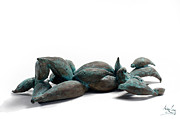 Bronze Sculpture Metal Prints - With Seed Metal Print by Adam Long