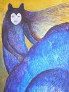 Egg Tempera Prints - Wolf Woman Print by Catherine Meyers
