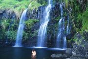 Wade Prints - Woman At Waterfall Print by Dave Fleetham - Printscapes