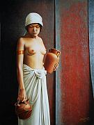 Clay Paintings - Woman Carrying Vases by Horacio Cardozo