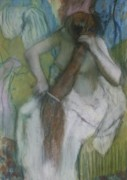 Bath Room Tapestries Textiles Posters - Woman Combing her Hair Poster by Edgar Degas