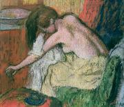 Sitting  Pastels Posters - Woman Drying Herself Poster by Edgar Degas