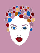 Eyes Drawings Posters - Woman in Fashion Poster by Frank Tschakert