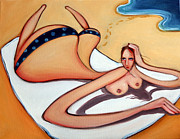 Topless Paintings - Woman in January by Leanne Wilkes