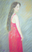 Face Pastels Prints - Woman In Red Dress Print by Masami Iida