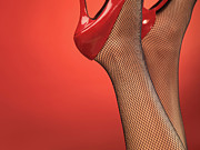 Stockings Art - Woman in Red High Heel Shoes by Oleksiy Maksymenko