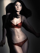 Brunette Prints - Woman in Red Lingerie Print by Oleksiy Maksymenko
