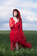 Hand On Heart Prints - Woman in Red Series Print by Cindy Singleton