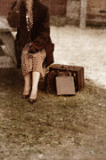 Handbag Photo Posters - Woman in Vintage 1940s Clothing Waiting with Suitcase. Poster by Jill Battaglia
