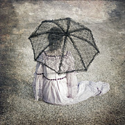 Umbrella Prints - Woman On Street Print by Joana Kruse
