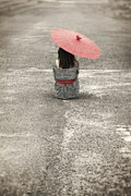 Rainy Street Art - Woman On The Street by Joana Kruse