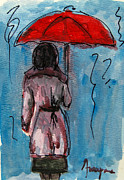 Rain Painting Framed Prints - Woman under a red umbrella Framed Print by Patricia Awapara