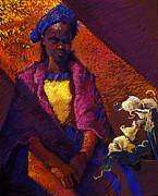 Woman With Calla Lilies Print by Ellen Dreibelbis