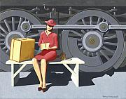 Gary Giacomelli Painting Posters - Woman with locomotive Poster by Gary Giacomelli
