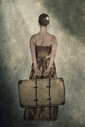 Goodbye Framed Prints - Woman With Suitcase Framed Print by Joana Kruse