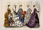 Ball Gown Framed Prints - Womens Fashions From Godeys Ladys Book Framed Print by Everett