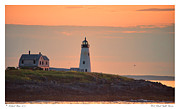 Atlantic Coastal Birds Photo Posters - Wood Island Light Sunrise Poster by Richard Bean