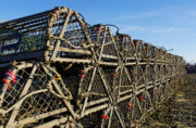 Massachusettes Prints - Wooden Lobster Traps Print by John Greim