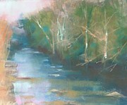 Stream Pastels Originals - Woodland Stream by Kathleen Hartman