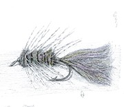 Fly Fishing Mixed Media Prints - Wooly Bugger Print by H C Denney