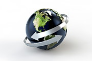 Global Digital Art - World Globe With Two Arrows by Bjorn Holland