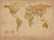 World Map Canvas Digital Art Metal Prints - World Map Antique Style Metal Print by Michael Tompsett