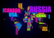 (united States) Posters - World Map in Words Poster by Michael Tompsett