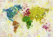 Green Pastels Posters - World Map Painting Poster by Setsiri Silapasuwanchai