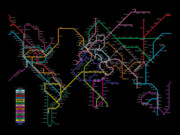 Map Of The World Prints - World Metro Map Print by Michael Tompsett