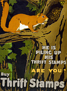 Saving Prints - World War I: Thrift Stamps Print by Granger