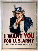 I Want Framed Prints - World War I: Uncle Sam Framed Print by Granger