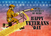 Veterans Day Posters - World War One American soldier firing machine gun  Poster by Aloysius Patrimonio