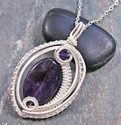 Jordan Jewelry - Woven Oval Amethyst and Silver Pendant by Heather Jordan