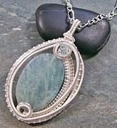 Silver Turquoise Jewelry - Woven Oval Aquamarine and Silver Pendant by Heather Jordan