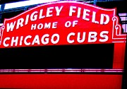 Chicago Black White Posters - Wrigley Field Sign ll Poster by Marsha Heiken