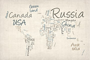 World Map Print Art - Writing Text Map of the World Map by Michael Tompsett